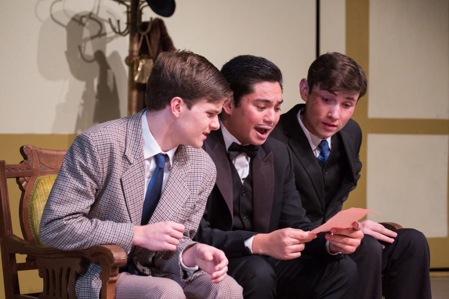 Aidan Howard, Tyler Pryun and Scott Smith reading a shocking, anonymous love letter.
